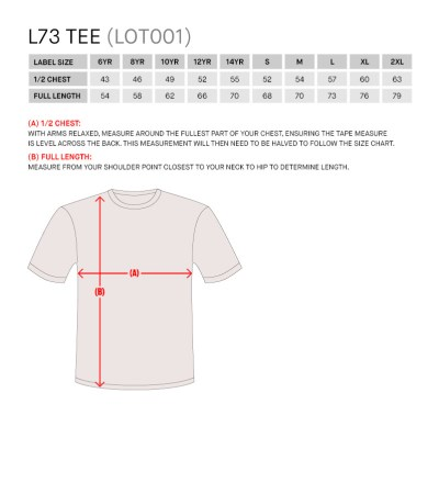 Size Guide for L73 Training Shirt