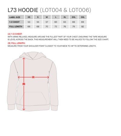 Size Guide for L73 FZ Hoodie