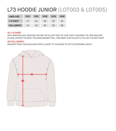 Size Guide for L73 FZ Hoodie Jnr Black/