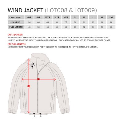 Size Guide for Hero Wind Jacket