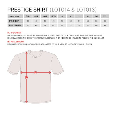 Size Guide for Prestige Shirt Jnr
