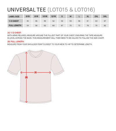 Size Guide for Shirt Universal Jnr