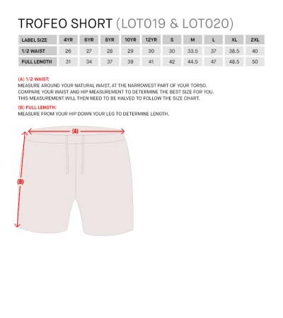 Size Guide for Trofeo Short